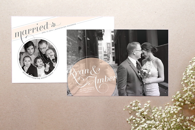 Custom wedding announcements with photo. Romantic script font with modern design. Studio AM Graphic Design and illustration in Chardon, Ohio.