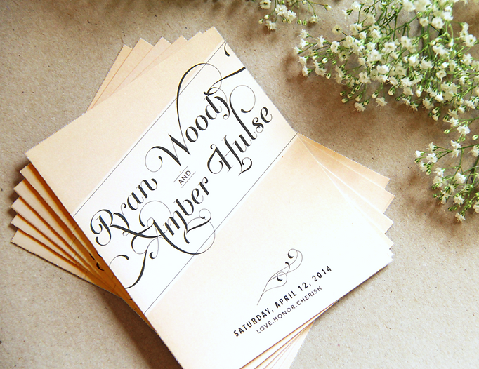 "Custom wedding programs with romantic calligraphy and modern design. Cream and blush color scheme. Studio AM Graphic Design and illustration in Chardon, Ohio.   Sam white  ""27 club"