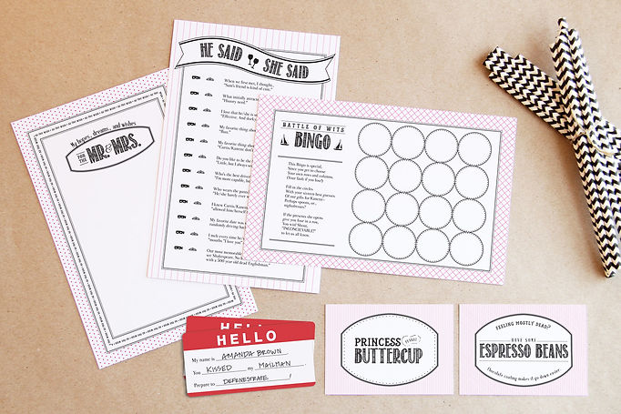 Princess bride bridal shower games | funny bridal shower game ideas | princess bride party ideas | Studio AM Chardon Graphic design