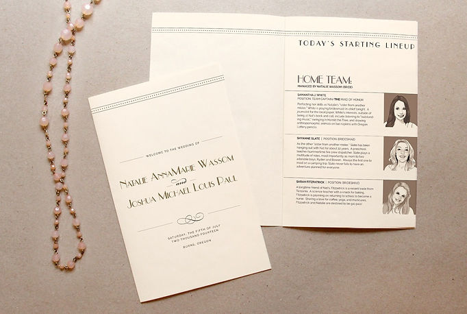 Creative wedding program ideas: wedding program with drawings of wedding party. By Studio AM in Eugene, Oregon.