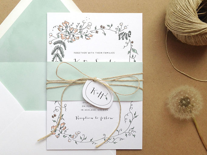 Custom designed wedding invitations with floral sweetpea and fern wreath illustration. Eugene, Oregon graphic design | Studio AM Eugene graphic design