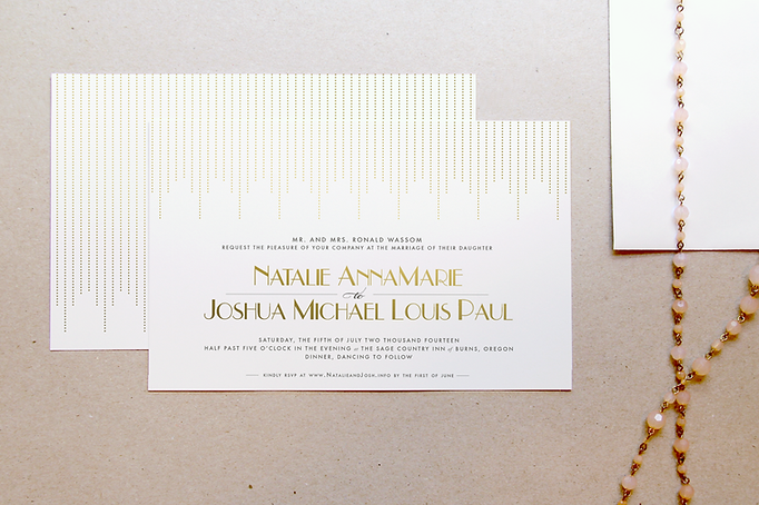 Custom wedding invitations in Art Deco style with gold and cream color theme. Studio AM Graphic Design and illustration in Eugene, Oregon.