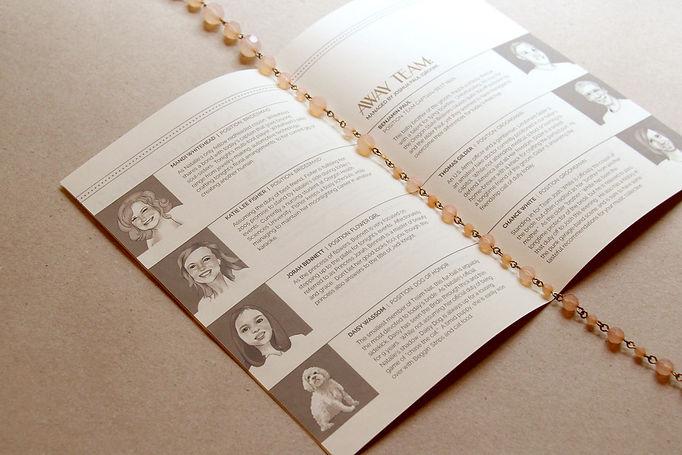 Creative wedding program ideas: wedding program with portraits of wedding party. Custom wedding program design by Studio AM in Eugene, Oregon.