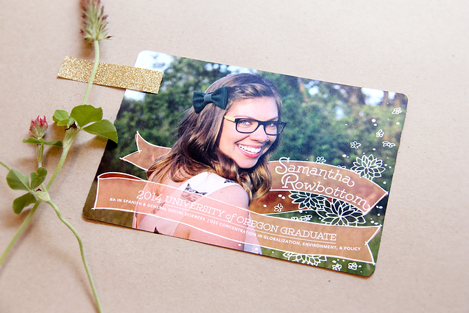 Custom graduation announcements with photo. Creative grad announcement idea. Unique grad announcements. University of Oregon graduation, Eugene, Oregon.