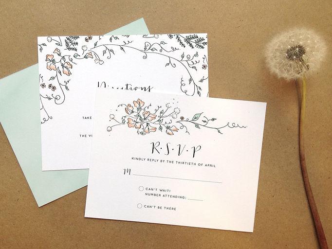 Custom wedding invitation design with pen and ink illustrations. Fern and sweetpea theme.   Studio AM Eugene oregon invitation design