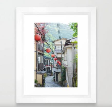 onsen street in Japan Framed Art Print