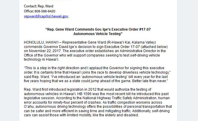 Press Release from Rep. Ward (Autonomous Vehicles)