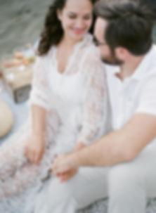 Girl in a lacy kimono smiling to her boyfriend