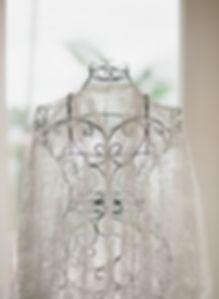 A lace kimono on a wrought iro bust