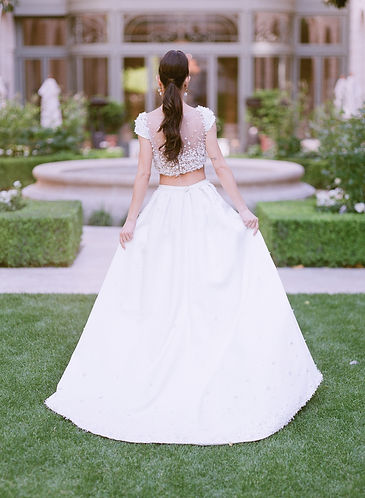 Bride's back wearing a wedding gown