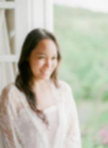 Close-up on a pretty girl wearing a lace kimono