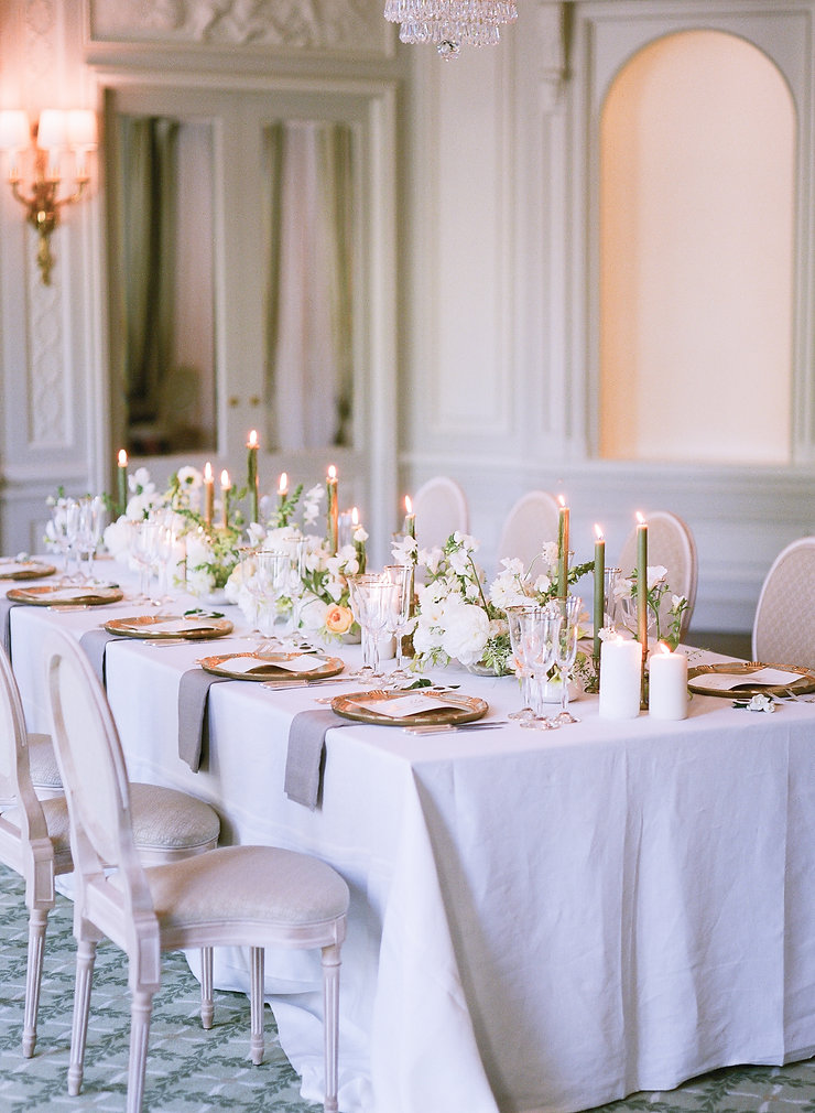 Wedding Table Setup - Green & White Table Design