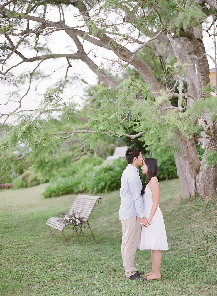 Couple of lovers standing ina garden under a tree