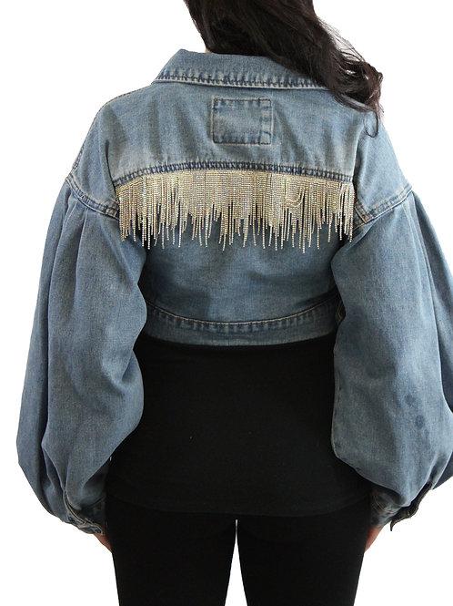 Custom Boujee Denim Crop Jacket