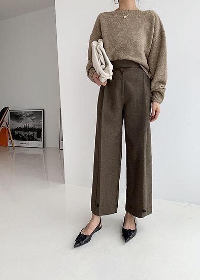HOO Buttoned Wool Pants