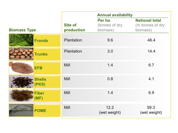 Biomass Type, fronds, trunks, EFB, PKS, MF, POME, plantation, mill