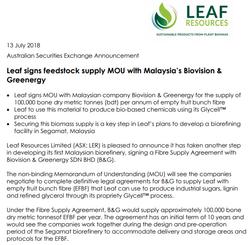 Leaf-B&G Agreement