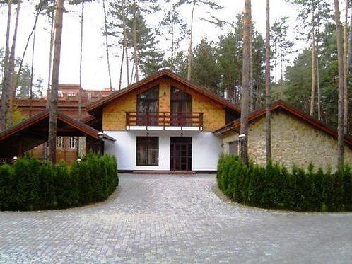 Стильный дом в сосновом лесу