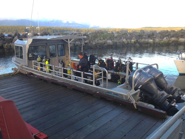 Our spacious dive boat at dock on Hornby Island.