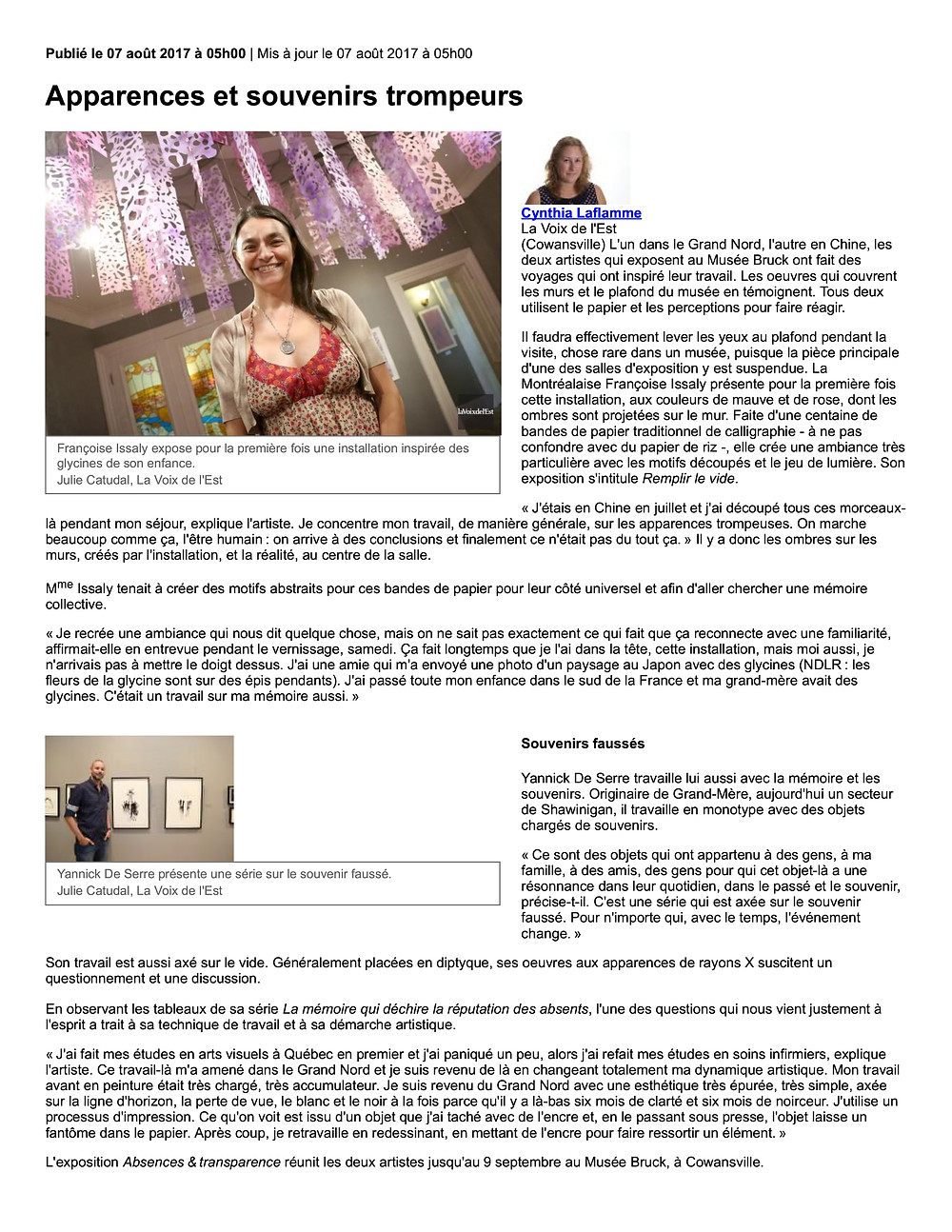 article Musée Bruck Cynthia Laflamme