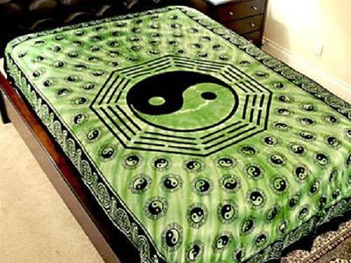 "Ying Yang Tapestry in Green - 72"" x 108"""