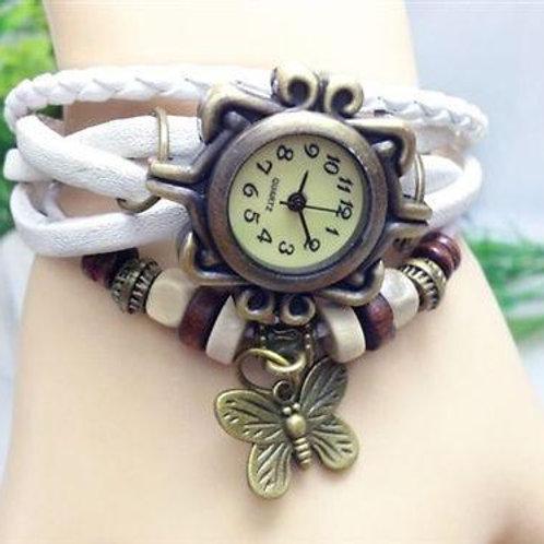 Retro Wrap Multi Row Leather Bracelet Watch - White