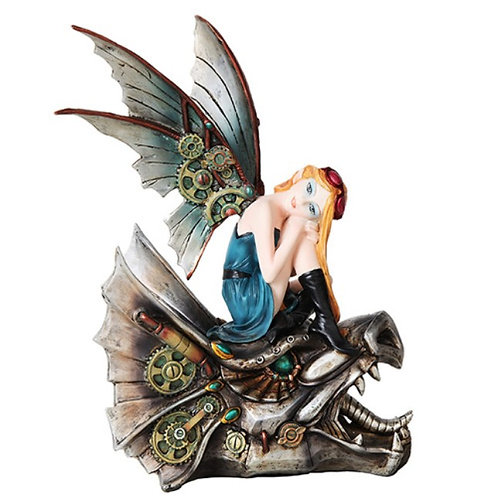 Steampunk Fairy on Dragon Skull