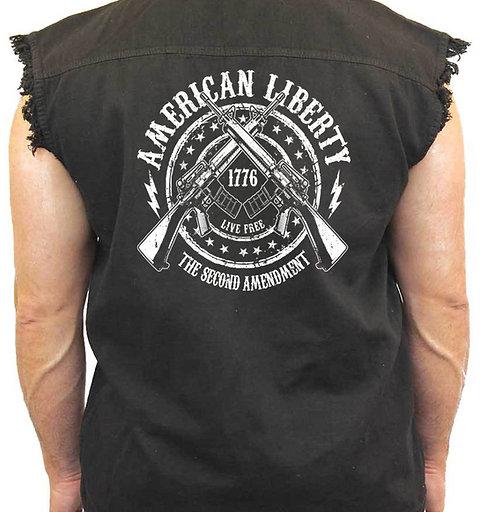 Men's Sleeveless Denim Shirt American Liberty 2nd Amendment