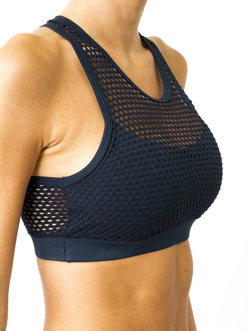 Jaxon Mesh Sports Bra - Black - Size Small