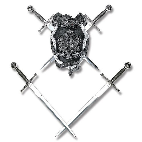 Royal Crest Dragon Shield Wall Display with Mini Excalibur Swords