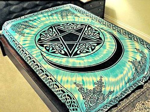 """Pentacle with Moon Tapestry in Turquoise - 72"""" x 108"""""""