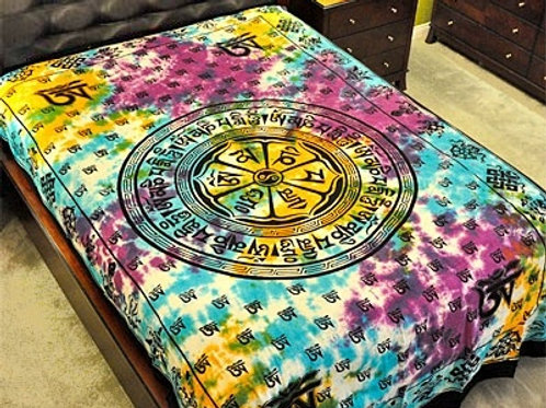 "Om Mani Chakra Tapestry (Tie Dye) - 72""X108"""