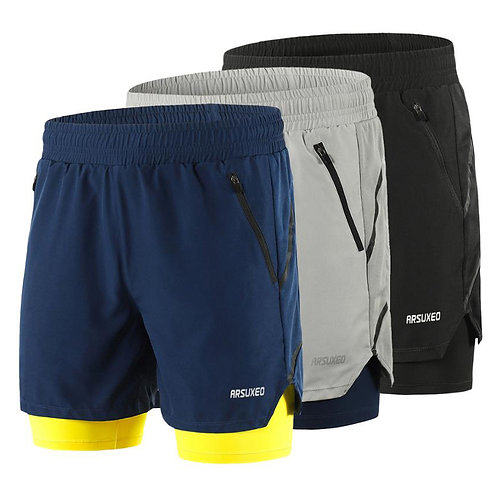 Mens 2 in 1 Shorts Quick Dry Fitness Training Gym Joggers Short Pants