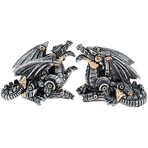Steampunk Figurine - Mini Dragon with Gears (Single -or- Set of Two)