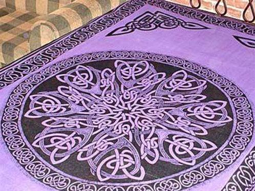 "Purple Celtic Knot Mandala Tapestry - 72"" x 108"""