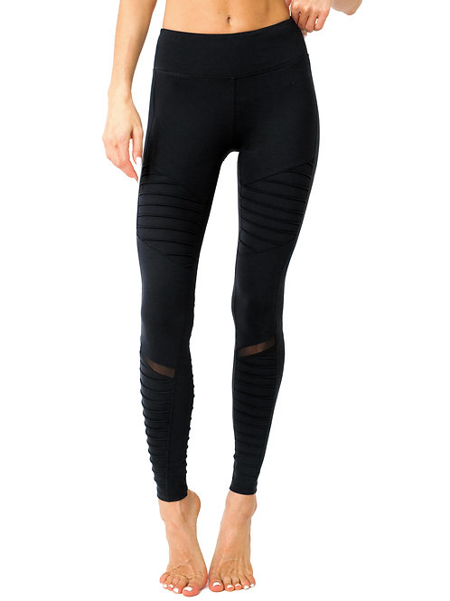 ALow-Waisted Ribbed Leggings With Hidden Pocket and Mesh Panels - Black