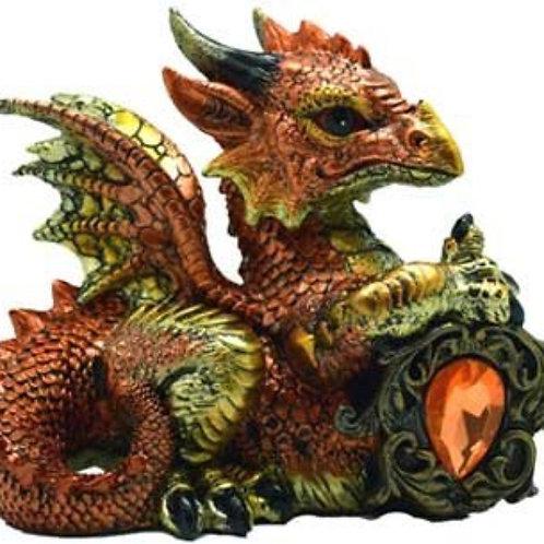 Orange Dragon with Stone