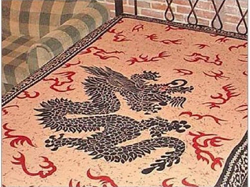 "MYSTICAL DRAGON TAPESTRY (RED/GOLD) - 72""X108"""