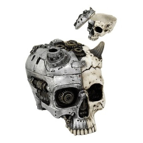 Steampunk metal devil White Skull Jewelry Box