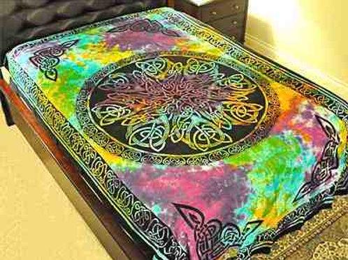 "Tie Dye Celtic Knot Mandala Tapestry - 72"" x 108"""