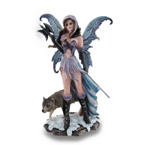 Winter Warrior Fairy Holding Poleaxe With Wolf Sculpture Statue
