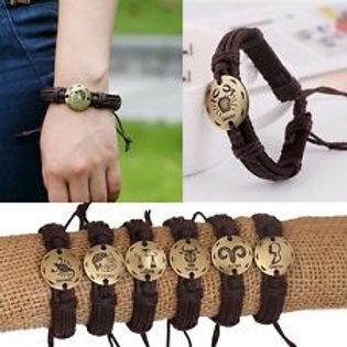 Zodiac Signs Ancient Alloy Leather Bracelet