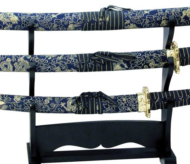 Samurai Sword Set w/ Blue & Gold Cloth Scabbards