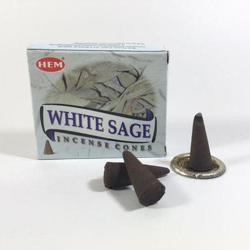HEM WHITE SAGE CONES - 10 CONES PACK