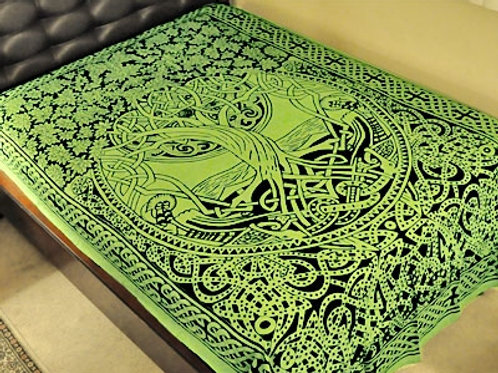 "Celtic Tree of Life Tapestry in Green - 72"" x 108"""