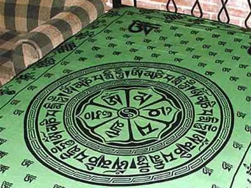 """Om Mani Chakra Tapestry (Green) - 72""""X108"""""""