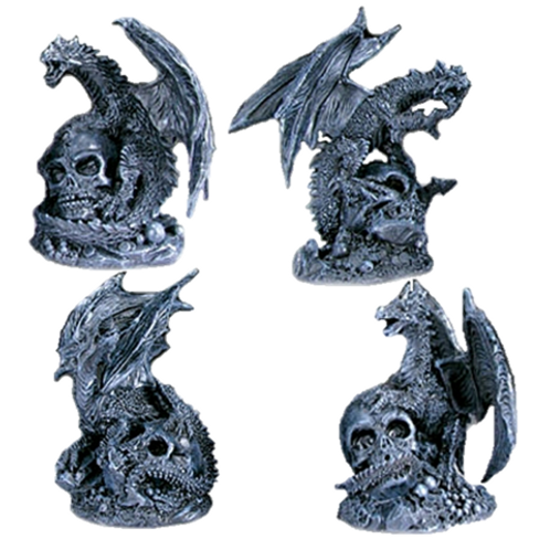 Black Assorted Dragons with Skull