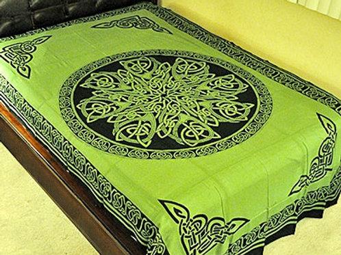 "Celtic Knot Mandala Tapestry in Green - 72"" x 108"""