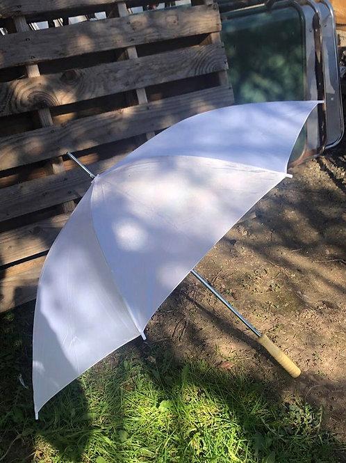 White parasol umbrellas