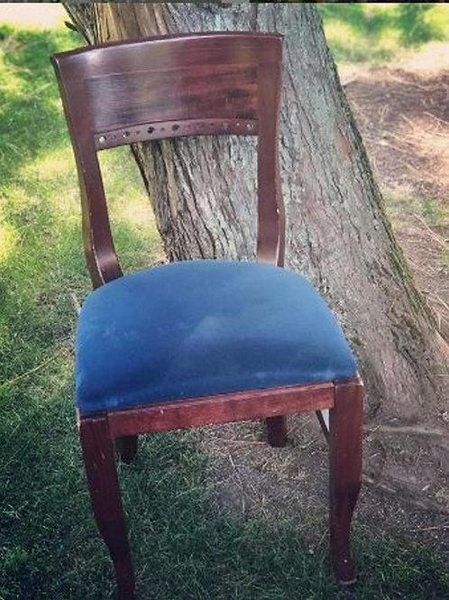 Mahogany Royal Blue Velvet Chair